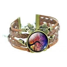 Vintage kožený náramek Strom života - 5 motivů Motiv: Stromová galaxie na orbitě