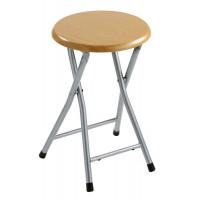 AQUALINE - Koupelnová stolička, průměr 29,8x46 cm, dekor dřevo (CO73)