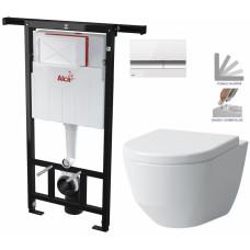 ALCAPLAST - SET Jádromodul - předstěnový instalační systém + tlačítko M1720-1 + WC LAUFEN PRO + SEDÁTKO (AM102/1120 M1720-1 LP3)