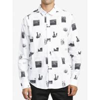 RVCA DESERTER white pánská košile dlouhý rukáv - M