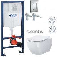 GROHE - Rapid SL Rapid SL pro závěsné WC 38528SET + WC OPOCZNO METROPOLITAN CLEAN ON + SEDÁTKO (38772001 ME1)