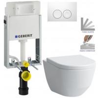 GEBERIT - SET KOMBIFIXBasic včetně ovládacího tlačítka DELTA 21 Bílé pro závěsné WC LAUFEN PRO + SEDÁTKO (110.100.00.1 21BI LP3)