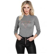 GUESS svetr Elsie Logo Sweater šedý vel. L
