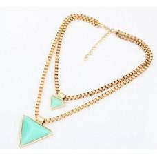 Náhrdelník Dvojitý trojúhelník - 2 barvy Barva: Zelený