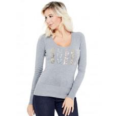 GUESS svetr Laine Logo Pullover Sweater šedý vel. XS
