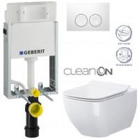 GEBERIT - SET KOMBIFIXBasic včetně ovládacího tlačítka DELTA 21 Bílé pro závěsné WC OPOCZNO CLEANON METROPOLITAN + SEDÁTKO (110.100.00.1 21BI ME1)