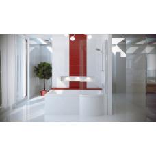 Asymetrická vana s jednodílnou zástěnou INSPIRO 150 x 70 cm