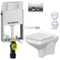 GEBERIT - SET KOMBIFIXBasic včetně ovládacího tlačítka DELTA 50 CR pro závěsné WC CERSANIT CLEANON COMO + SEDÁTKO (110.100.00.1 50CR CO1)