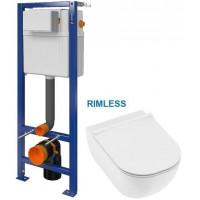 CERSANIT - SET nádržka AQUA 02 bez tlačítka + JIKA Mio WC, Rimless + Mio WC sedátko SLIM (S97-063 IO1)