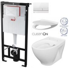 ALCAPLAST - SET Sádromodul - předstěnový instalační systém + tlačítko M1710 + WC CERSANIT CLEANON MODUO + SEDÁTKO (AM101/1120 M1710 MO1)