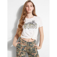 GUESS tričko Leopard Drip Logo Graphic Tee frosted white vel. S