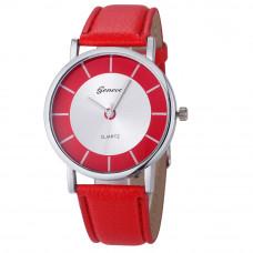 Úžasné unisex kožené Retro hodinky Geneva - 4 barvy Barva: Červená