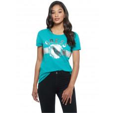 GUESS tričko Tammy Logo Crewneck Tee tyrkysové vel. XS