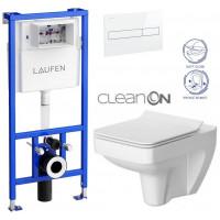 LAUFEN - Rámový podomítkový modul CW1 SET BÍLÁ + ovládací tlačítko BÍLÉ + WC CERSANIT SPLENDOUR CLEANON + SEDÁTKO (H8946600000001BI SP1)