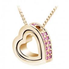 Zlatý náhrdelník Dvojité srdce - 3 barvy Barva: Růžový