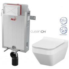 ALCAPLAST - SET Renovmodul - předstěnový instalační systém + WC CERSANIT CLEANON CREA ČTVEREC + SEDÁTKO (AM115/1000 X CR2)