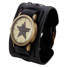 Kožené analogové hodinky Hvězda unisex - 2 barvy Barva: Černé