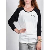 RVCA FREE AND WILD 3/4 Vintage White dámské tričko s dlouhým rukávem - M