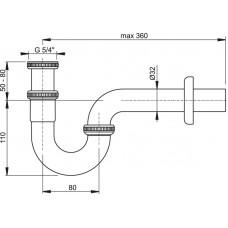 Sifon umyvadlový U kov 32 s převlečenou maticí 5/4 ALCAPLAST A432 (A432)