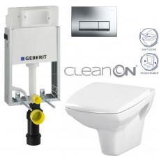GEBERIT - SET GEBERIT - KOMBIFIXBasic včetně ovládacího tlačítka DELTA 51 CR pro závěsné WC CARINA CLEAN ON + SEDÁTKO (110.100.00.1 51CR CA2)