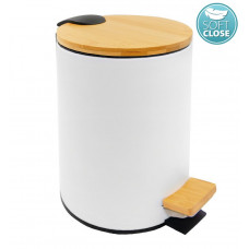 AQUALINE - BAMBUS odpadkový koš kulatý 3l, bílá (BI006)