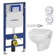 GEBERIT - SET Duofix pro závěsné WC 111.300.00.5 bez ovládací desky + WC CERSANIT PARVA NEW CLEANON + Sedátko (111.300.00.5 PA1)
