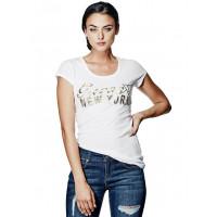 GUESS tričko Short-Sleeve Big Apple Logo Tee bílé vel. XL