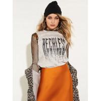 GUESS tričko Reckless Cheetah-print Easy Fit Tee šedé vel. XL