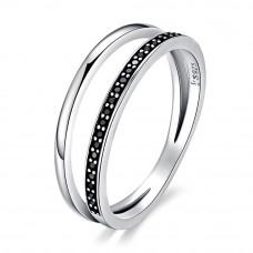 OLIVIE Stříbrný prsten ČERNÁ LINIE 3392 Velikost prstenů: 6 (EU: 51 - 53)