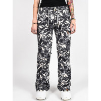 Roxy NADIA PRINTED OYSTER GRAY HAWAIIAN PALM LEAF dámské kalhoty na snb - S