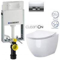 GEBERIT - SET KOMBIFIXBasic včetně ovládacího tlačítka DELTA 50 CR pro závěsné WC OPOCZNO CLEANON URBAN HARMONY + SEDÁTKO (110.100.00.1 50CR HA1)