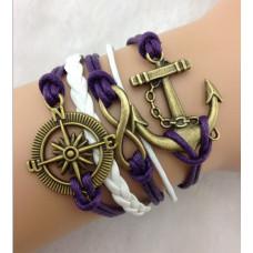 Náramek Vintage kožený Námořnický kompas - 2 barvy Barva: Fialovo-bílý