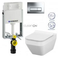 GEBERIT - SET GEBERIT - KOMBIFIXBasic včetně ovládacího tlačítka DELTA 51 CR pro závěsné WC CREA HRANATÉ + SEDÁTKO (110.100.00.1 51CR CR2)