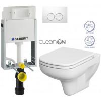 GEBERIT - SET KOMBIFIXBasic včetně ovládacího tlačítka DELTA 21 Bílé pro závěsné WC CERSANIT CLEANON COLOUR + SEDÁTKO (110.100.00.1 21BI CN1)