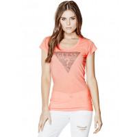GUESS tričko Tracy Coral Rhinestone Tee oranžové vel. XS