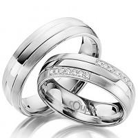 Zlato Snubní prsten Couple Grondos z bílého zlata