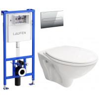 LAUFEN - Rámový podomítkový modul CW1 SET + ovládací tlačítko CHROM + WC CERSANIT MITO + SEDÁTKO (H8946600000001CR MI1)