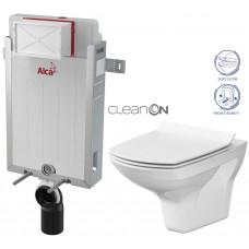 ALCAPLAST - SET Renovmodul - předstěnový instalační systém + WC CERSANIT CLEANON CARINA + SEDÁTKO (AM115/1000 X CA3)