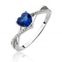 OLIVIE Stříbrný prsten MODRÉ SRDCE 3636 Velikost prstenů: 7 (EU: 54 - 56)
