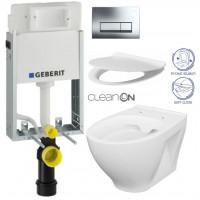 GEBERIT - SET KOMBIFIXBasic včetně ovládacího tlačítka DELTA 51 CR pro závěsné WC CERSANIT MODUO CLEANON + SEDÁTKO (110.100.00.1 51CR MO1)