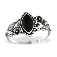 OLIVIE Stříbrný květinový prsten BLACK 1202 Velikost prstenů: 7 (EU: 54 - 56)