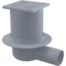 Alcaplast Podlahová vpust 105 × 105/50 boční, mřížka šedá, vodní zápachová uzávěra (APV5111)