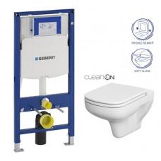 GEBERIT - SET Duofix pro závěsné WC 111.300.00.5 bez ovládací desky + WC CERSANIT COLOUR NEW CLEANON + Sedátko (111.300.00.5 CN1)