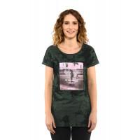 Horsefeathers RENATA gray tie dye dámské tričko s krátkým rukávem - M