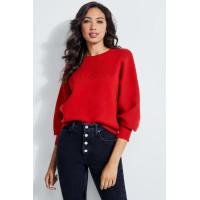 GUESS svetr Logo-Debossed Pullover červený vel. L