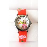 Dětské červené hodinky Barbie v růžových šatech