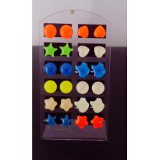 Náušnice fosforové pecky sada 12 párů - 6 motivů Motiv: Kolečko, srdce, hvězdička, jablko, kytička