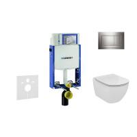Geberit Sada pro závěsné WC + klozet a sedátko Ideal Standard Tesi - sada s tlačítkem Sigma30, lesklý/matný/lesklý chrom 110.302.00.5 NF6