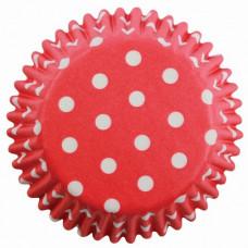 Košíčky papírové Červené + bílé puntíky v.30xpr.45mm; 60 ks