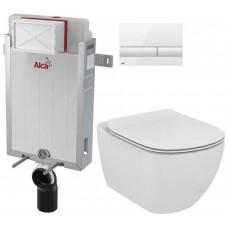 ALCAPLAST - SET Renovmodul - předstěnový instalační systém + tlačítko M1710 + WC TESI (AM115/1000 M1710 TE3)